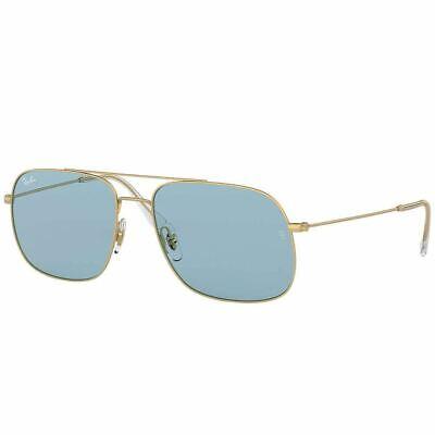 Authentic Ray Ban Aviator Unisex Sunglasses w/Andrea Light Blue RB3595 901380