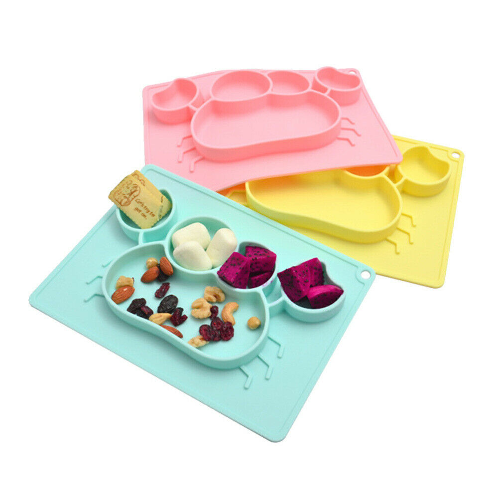Baby Divided Plate Kids 3 Compartment Food Tray Straw Children Dinner TablewareF