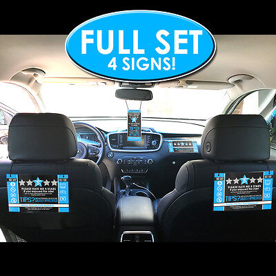Uber Lyft Sign Full Set -Headrest, Dash & Hanging signs - Rating & Tips - Blue
