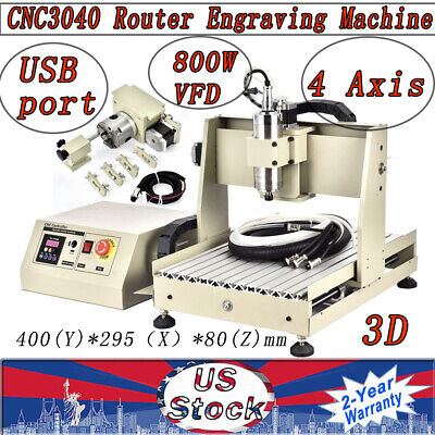 4-axis Cnc 3040 Router Engraver Engraving Machine Water-cooling 3d 800w Usb Sale