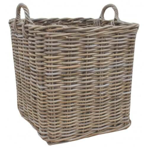 Square Wicker Storage Basket Large Medium Small Buff