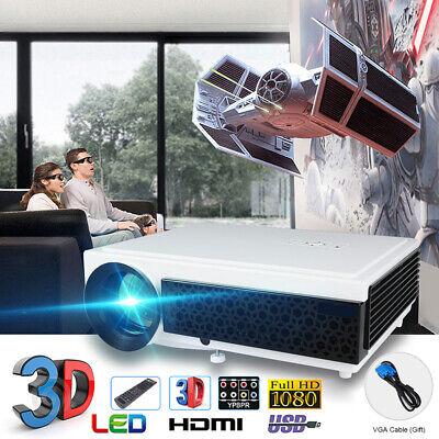 1080P Full HD Smart 3D LED Projector Home Theater 5000 Lumens HDMI USB VGA AV WF
