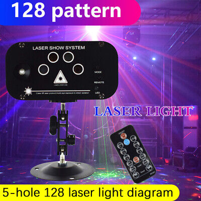 RGB Laser Stage Light 128 Pattern LED Party DJ Disco Dance Lighting Projector UK