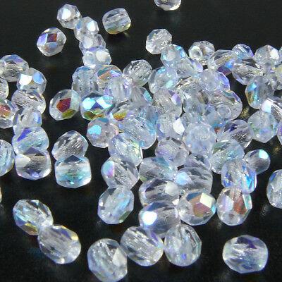 100 feuerpolierte Glasschliffperlen 4mm kristall AB Perlen transparent -1767 ()