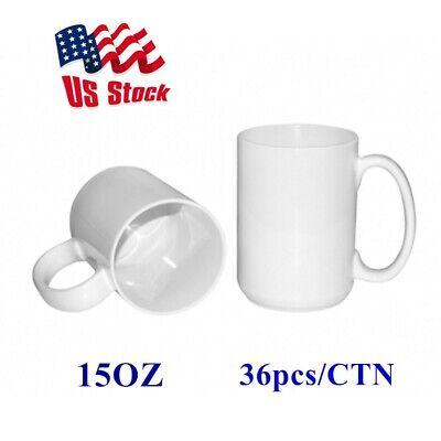 36pcs 15oz Orca Coating Blank White Mugs Grade Aa For Diy Sublimation Printing