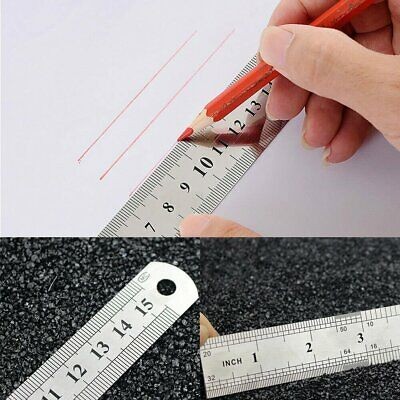 6 inch / 15 cm Stainless Steel Metal Straight Ruler Precision Scale Double Sided Home & Garden