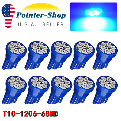 10X Pure Blue T10 Wedge 6-SMD LED Interior Dome Map Light Bulb W5W 192 194 2825
