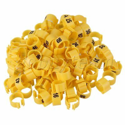 100pcs Numbered 1-100 Yellow Plastic Leg Clip Rings for Racing Pigeons 9.5mm