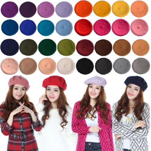 Classic Beanie Cap Winter Beret Cap Hat Wool Warm French Artist Women Girl Kids