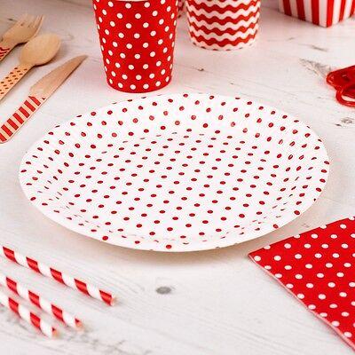 Pappteller Polka Dots rot 8 Stück - Einwegteller Hochzeit Partyteller 23 cm (Rot Party Pappteller)