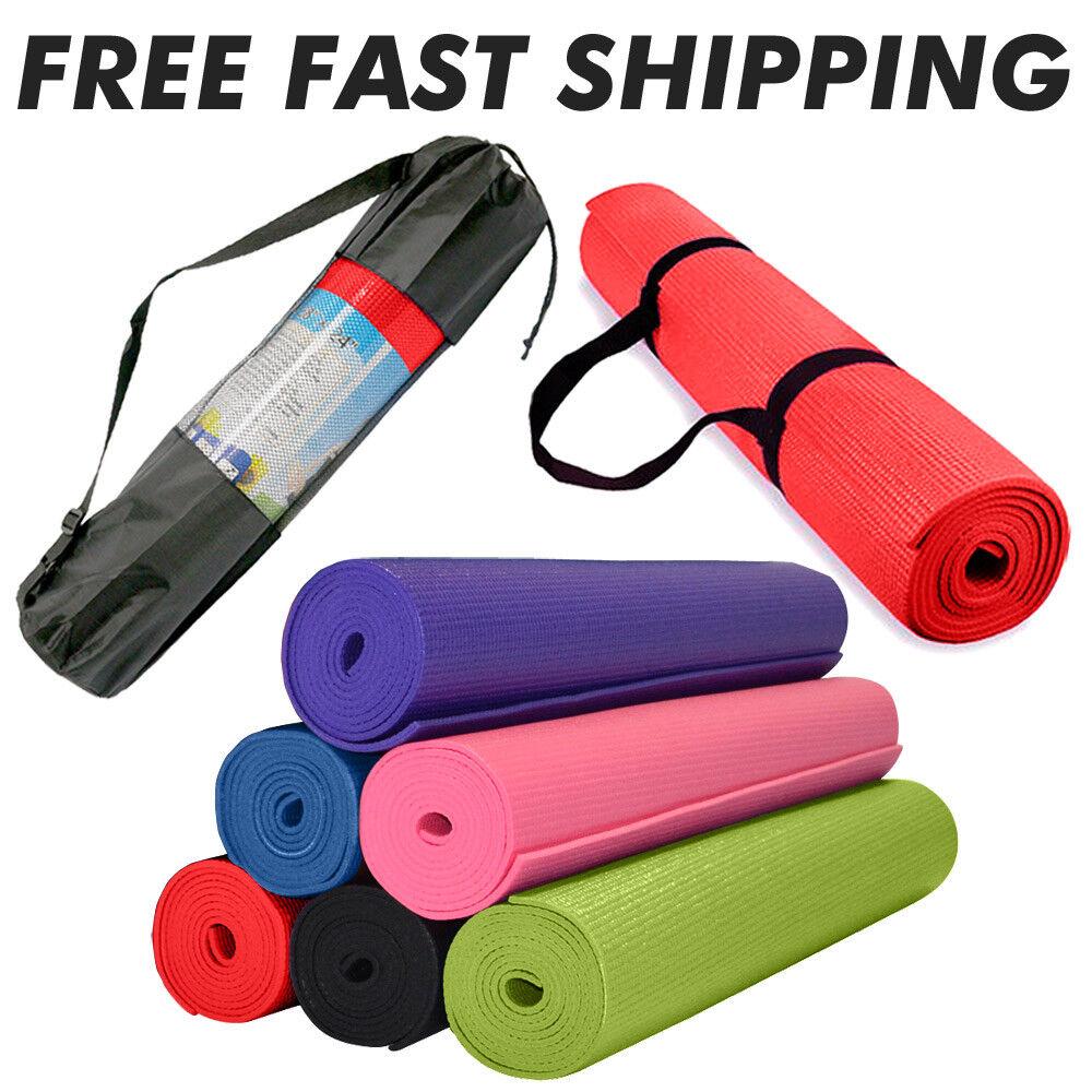 "Foam Mats for Yoga Pilates Exercise + Carry Bag  68"" x 24"" -"