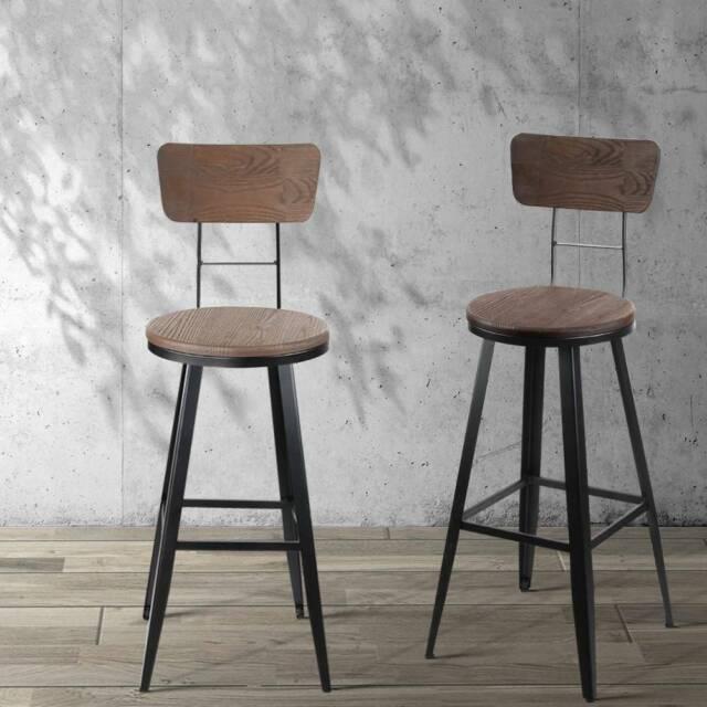 artiss industrial swivel bar stool  black  2 sizes
