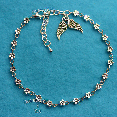 Unique Boho Daisy Chain Flower Guardian Angel Wings Anklet Ankle Bracelet Gift