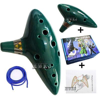 12 Hole Green Ocarina Ceramic Alto C Flute Legend of Zelda Instrument + Gift Box