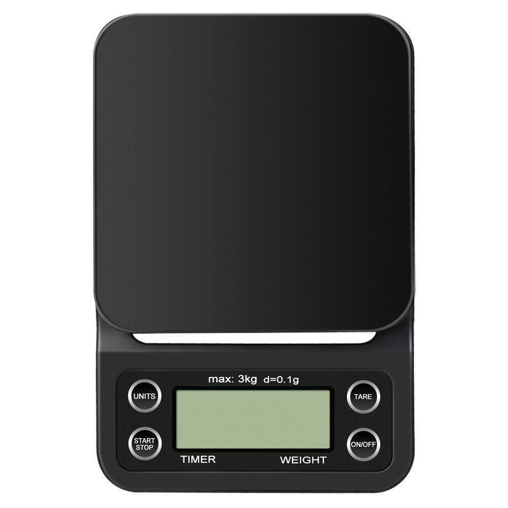 3kg/0.1g G LCD Bildschirm Digital Kaffee Waage Elektrisch mit Zeitgeber Hänger