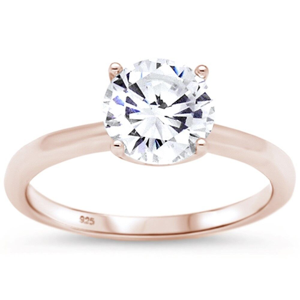 Rose Gold Plated Engagement Solitaire .925 Sterling Silver R