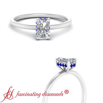 3/4 Carat Radiant Cut Diamond & Sapphire Gemstone Delicate Shank Engagement Ring
