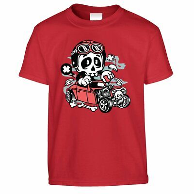 Halloween Costume Ideas Boys (Halloween Kid's T Shirt Costume Skeleton Go Kart Scary Speed Demon Gift)