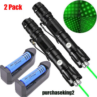 2pcs 900 Miles Star Green Laser Pointer Rechargeable Lazerchargerbattery 1 Mw