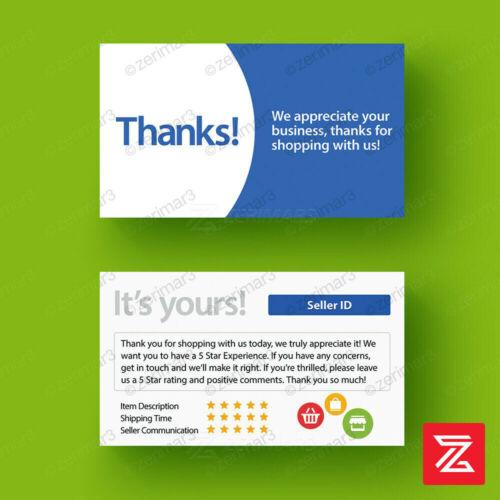 500 Thank You Seller Business Cards Set 16pt UV Gloss eBay Etsy Amazon