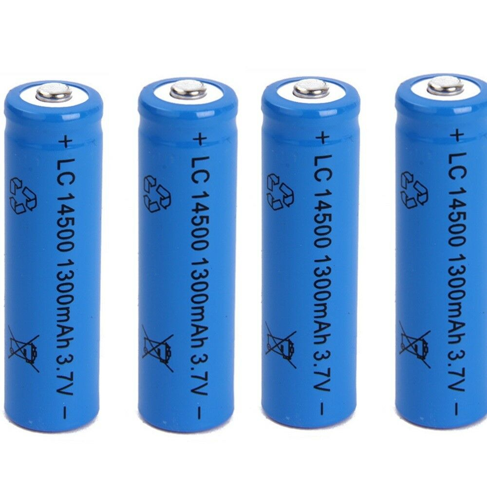 4 x AKKU AA Batterien Li-Ionen LC 14500 LC14500 3.7V 1300mAh 50x14mm 00000000000