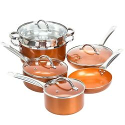 Shineuri Copper 10 Piece Non Stick Cookware Set - Pots, Pans, Steamers, Skillets
