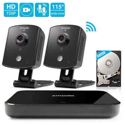 Zmodo 1080p 4CH HDMI NVR 2 1.0MP WiFi IP Audio Home Security Camera System 500GB
