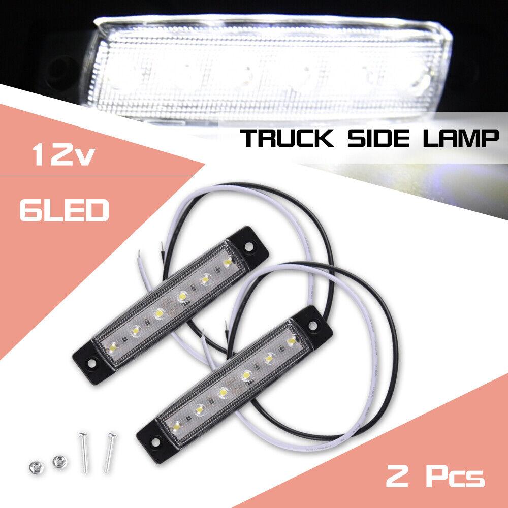 Car Parts - 2pcs White 6 LED 12V Car Side Marker Indicator Light Waterproof Truck Parts