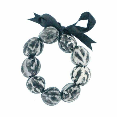 Hawaiian Jewelry Black Marble Kukui Nut Lei Elastic Bracelet from Hawaii