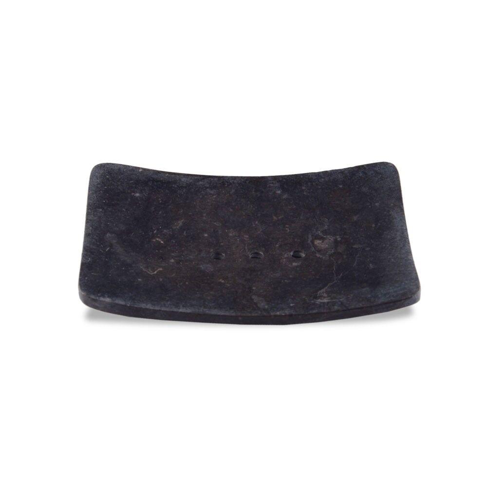 wohnfreuden Marmor Seifenschale Zen mit Loch schwarz 12x9x2 cm Naturstein Ablage