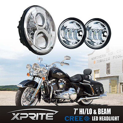 Xprite LED Projector Daymaker Headlight Passing Lights For Harley Touring 7""
