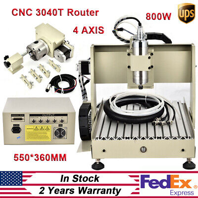 Cnc 3040t Router 4 Axis Milling Engraving Cutting Machine 800w Spindle Engraver