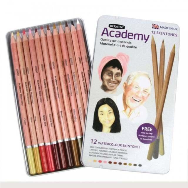 Derwent Academy Watercolour Pencils Skintones 12 Tin Set Soft Water-Soluble