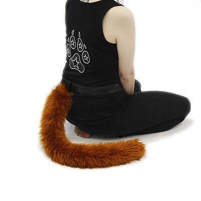 PAWSTAR Furry Cat Tail - Plush Costume Monkey Animal Rust Brown Best Fluffy 3500 - Best Cat Costume