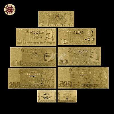 WR 1985 Germany D.R. Democratic Republic 5 - 500 Mark Gold Foil Banknote Set
