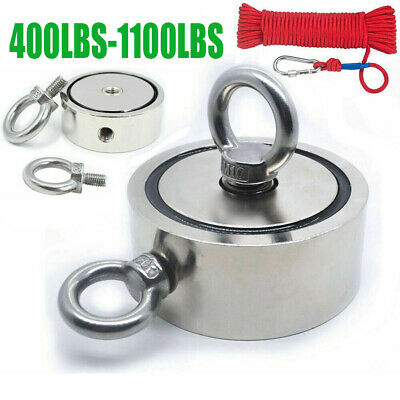 Big Fishing Magnet Kit Upto 1100lbs Pull Force Strong Neodymium Rope Carabiner