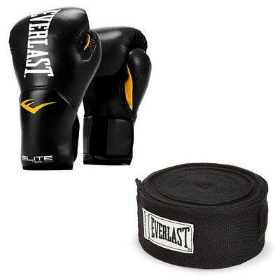Everlast Elite Pro Boxing Gloves Size 12, Black and 120 Inch Hand Wraps, Black