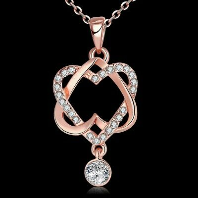 Heart Pendant with Red Cubic Zirconia in 18K Gold-Plated Brass, 18