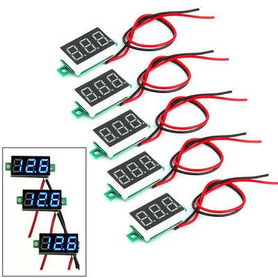 5pack Mini Blue Dc 3-30v Led Panel Voltmeter 3 Digital Display Voltage Meter Us
