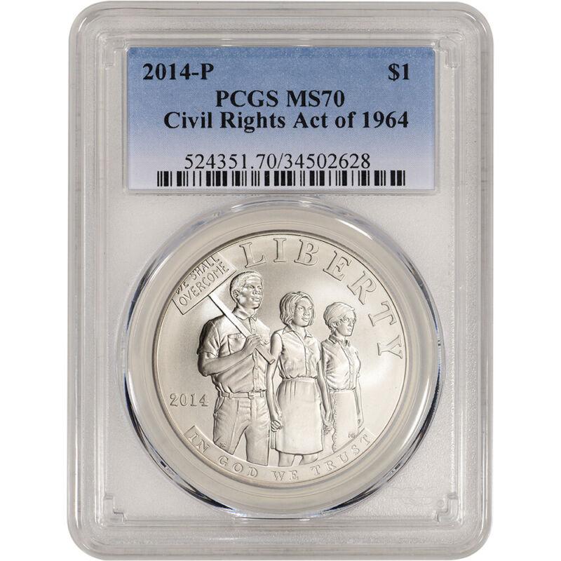 2014-P US Civil Rights Commemorative BU Silver $1 - PCGS MS70