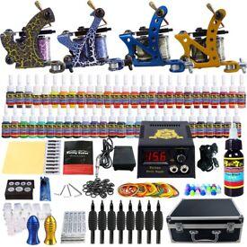 Tattoo Kit 4 Machine 54 Colour Inks Needles Power Supply Set Tip