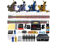 Tattoo Kit 4 Machine 54 Colour Inks Needles Power Supply Set Tip