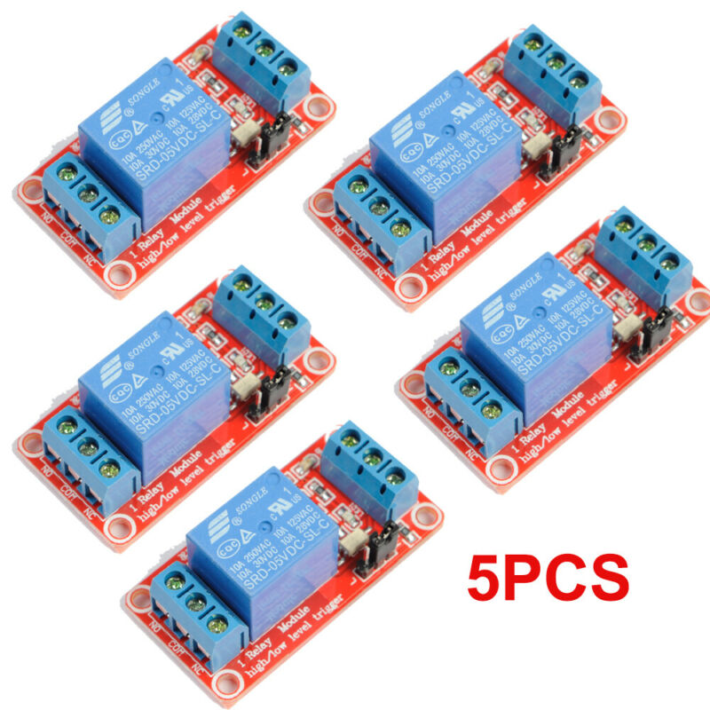 5PCS set 5V 1-Channel Relay Module with Optocoupler H/L Level Triger for Arduino