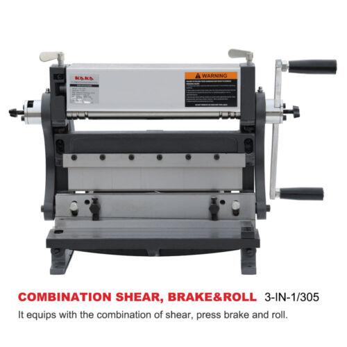 KAKA 3-IN-1/12, 12-In Sheet Metal Brake, Shear Brake Roll Combinations