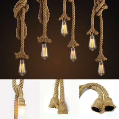 Hemp Rope Light Loft Ceiling Lamp Pendant Chandelier Edison Bulb Cafe Bar E26 US ()