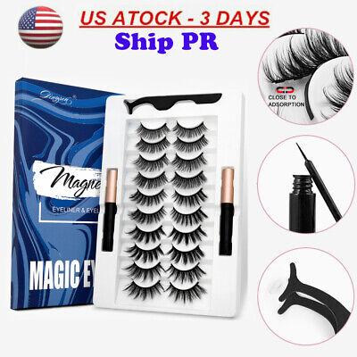 5/7/10 Pairs False Eyelashes Magnetic liquid 2 Eyeliner Easy Wear Lashes Set US