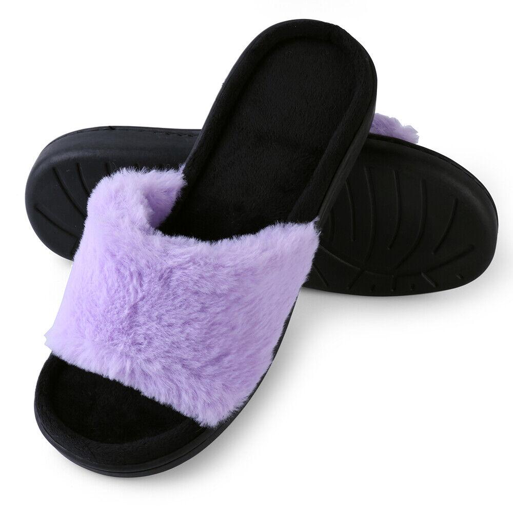 0176641b892 Purple Women Open Toe Faux Fur Fluffy Slide Slip On Slippers Flat Sandals