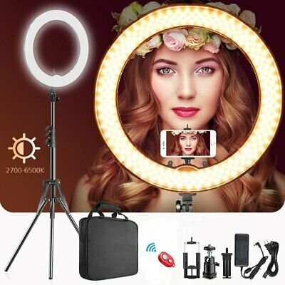 "18"" Dimmable LED Ring Light with Tripod Stand Selfie Make Up Lamp Video Lighting"