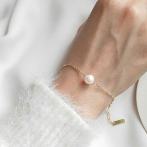 FRESHWATER PEARL WOMEN BRACELET Jewelry 925 Sterling Silver 18K GOLD Plated