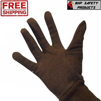 Brown Cotton Jersey Work Gloves Large - Industrial Grade Mens Size